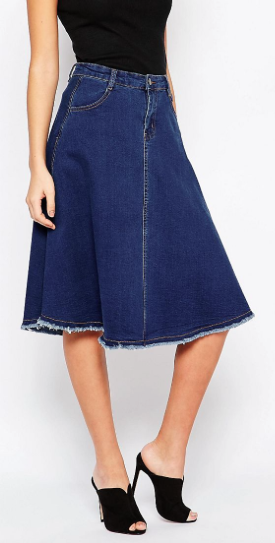 Denim midi skirt, ASOS